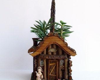 Log Cabin Folk Art, Girl with Duck, Plant Holder, Bavarian Alpine, Kitsch Decor, Cabin Decor