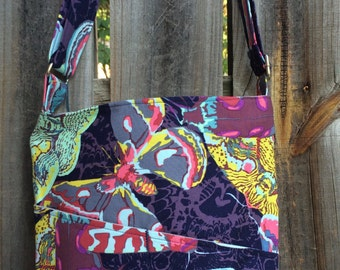 Cross Body Messenger Bag with zipper closure and lots of pockets - Moths