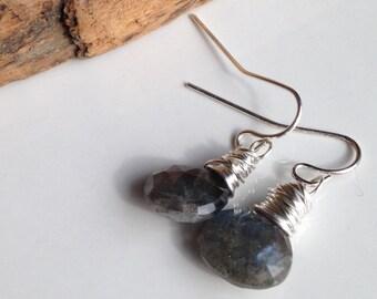 Briolette Earrings, Labradorite Earrings, Labradorite Briolettes, Silver Plated Earrings, Wire Wrapped, Dangle Earrings, Everyday Earrings