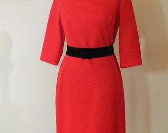 1960s Alaraon of California Red Shift Dress // Large