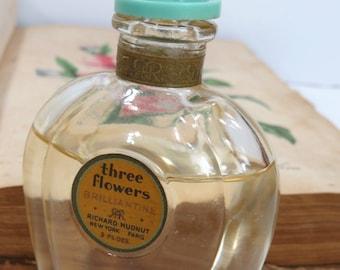 Three Flowers Brilliantine Perfume by Richard Hudnut - 2 Fluid Oz., Nearly Full Bottle - Art Deco Aqua Bakelite Lid