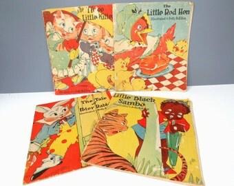 4 Vintage Children's Story Books Illustrated by Betty Bell Rea 1938, Black Sambo, Little Red Hen, Peter Rabbit, 3 Little Kittens