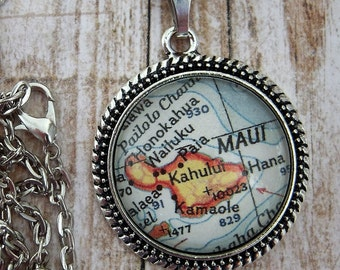 Custom Map Jewelry, Maui Hawaii Map Pendant Necklace, Personalized Gifts Ideas, Map Cuff Links, Groomsmen