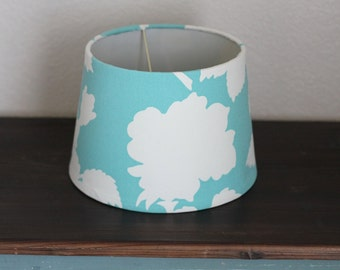 Aqua and White Modern Floral Small Drum Lamp Shade