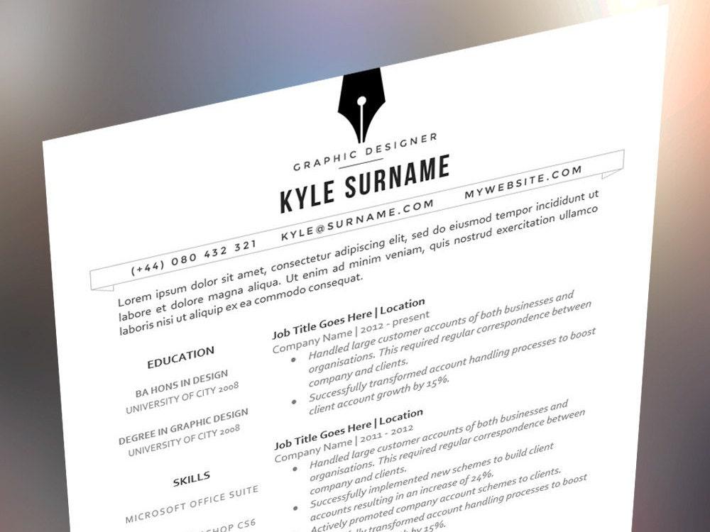 sleek and modern branded resume cv template the kyle