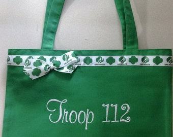 Personalized Tote Bag, Girl Scout Ribbon Trim, Free Monogram, Free Shipping!