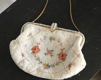 Vintage beaded purse clutch bag handbag by Jorelle Bags 1940s antique made in France vintage handmade floral white vintage bridal flowers