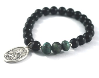 St Therese Bracelet Saint Therese, the little flower Healing bracelet in classic Onyx + Natural Turquoise Catholic saint prayer jewelry