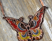 Ink'd Ablaze Vintage Butterfly Sailor Jerry Tattoo Necklace Hand Engraved & Heat Patinaed, Classic Tatto Flash Inspired: Inkd7