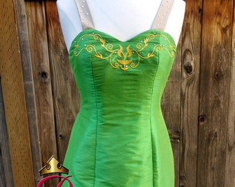 Tinkerbell H Costume Fairy Adult in Shantung Satin Embroidered