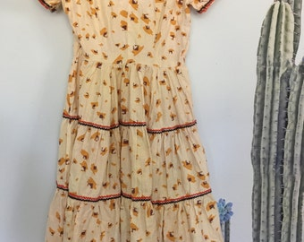 Vintage 70s Yellow Territory Print Square Dance Dress