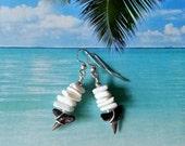 Shark tooth earrings white puka shell earrings wire wrapped fossil earrings sharks teeth beach earrings