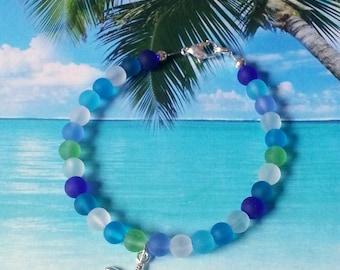 Starfish seaglass beads bracelet tumbled glass beaded bracelet beach bracelet coastal jewelry