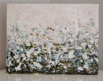 Abstract Landscape Painting Atmospheric Spiritual painting Blues greens Earth  Nostalgia 14 x 18