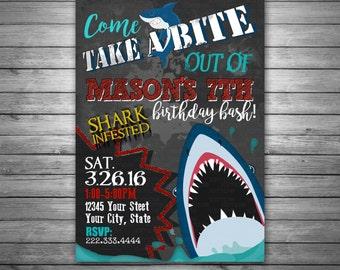 Shark Birthday Invitation, Shark Pool Party Invitation, Shark birthday, Shark Party, Printable Invitation, Shark Birthday Party Invitation