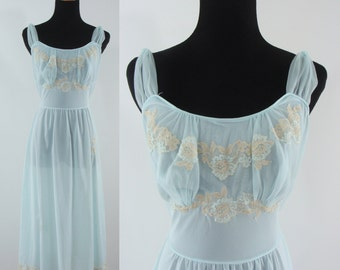 SALE Vintage Fifties Nightgown - Powder Blue Nightgown - 50s Lingerie - Sheer Artemis Night Gown
