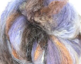 Farm Wool Art Batt for Spinning and Felting Fiber Fleece Textured Chunky Colorway- Deep End
