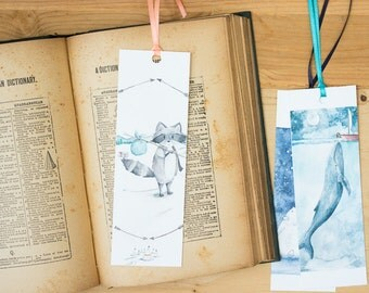 Road Trip Bookmark - Raccoon and Mouse illustration art bookmark with hand-tied ribbon