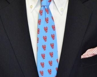 Lobster Mens Tie, Blue Tie, Coastal Tie, Southern Tie, Preppy Tie, Beach Wedding, Lobster, Handmade Tie, Unique Tie, Necktie, Red and Blue