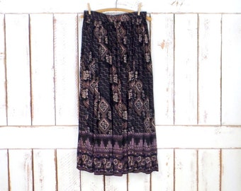 Black/tan tribal/Aztec  print boho vintage maxi skirt/long sheer gauzy Indian gypsy festival skirt