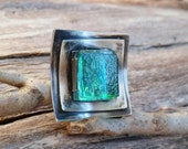 Greenish Blue Ring. Dichroic Glass Ring. Handmade Ring. Fused Glass Ring.  Sterling Silver And Fused Glass Ring. One Of A Kind Ring.