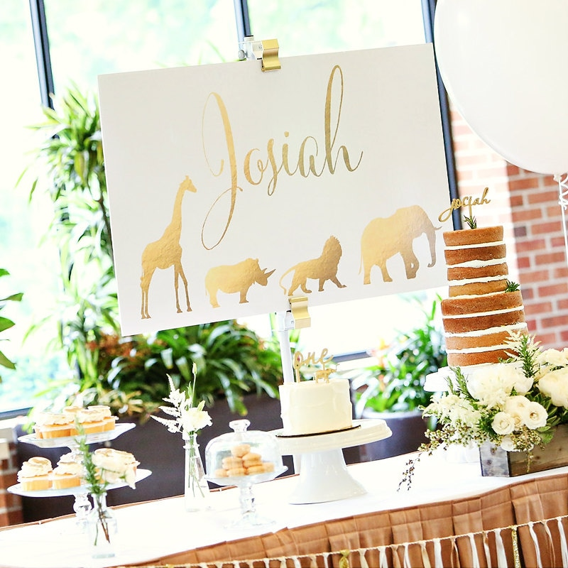Party Animal 1st Birthday First Birthday Ideas: Safari Baby Shower Matching Name Sign