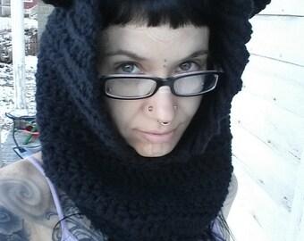 Black Cat Ear Hooded Cowl