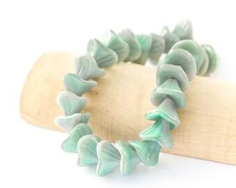 Seafoam Green & Light Grey Czech Glass 3 Petal Flower Beads, Pressed Bell Bead Caps, 10/12mm x 10pc (0017)