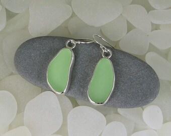 Seafoam Green Sea Glass Bezel Earrings