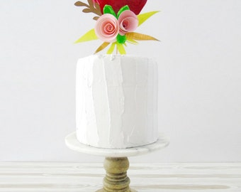 Paper Mache Heart with Paper Flowers Cake Topper