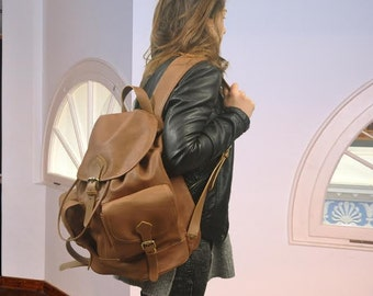 Handmade leather backpack in Tan Brown,unisex, named Tania L. made to order