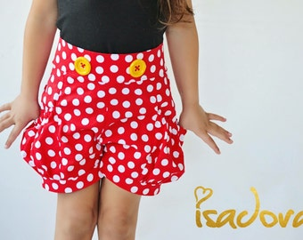 Mouse shorts in red and  white polkadot
