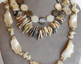 Lot of 3 Vintage Mother of Pearl Bead Necklaces    MAH17