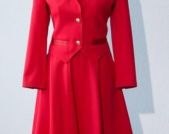 Vintage Valentino Red Skirt Suit