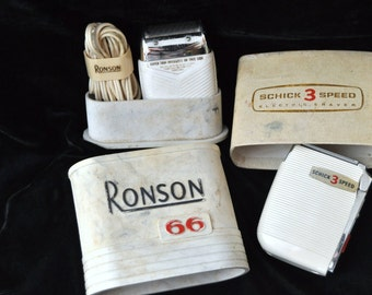 Vintage Ronson 66 USA Electric Razor/1956  With Original Case & Cord and Schick 3 Speed/Shaving Supplies Collection/Men's Adults 1960's Swag