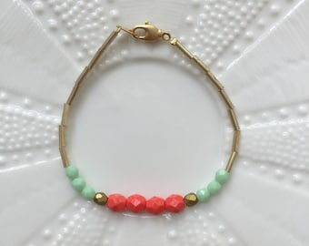 Mint & Melon Glass Bracelet