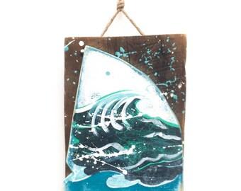 Personalize and Adopt This Original Art Item-Shark Fin With Ocean Waves Painting OOAK Home Decor Beach Art Shark Fin Wall Art Mangoseed