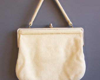 1950s HUGE lumured frame purse caviar bead pearly beaded vintage purse, large enough for an ipad!
