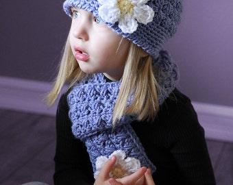 Girl Set, Girl Hat and Scarf, Toddler Set, Girl Handmade Hat, Girl Scarf, Scarf, Hat, Purple, White Flower, Girl Photo Props. Girl Clothing.