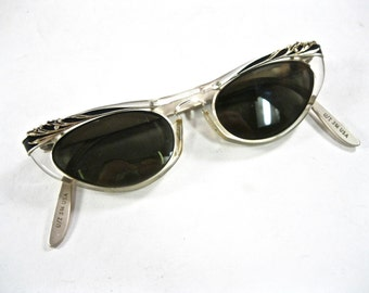 Vintage cat eye glasses. Ornate floral design / clear plastic metal combo frames. 1950s glasses frames.