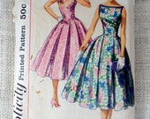 Vintage Pattern Simplicity 2030 Sewing pattern 1950s full skirt dress Bust 34 Rockabilly fit and flare sweetheart neckline Tie shoulders