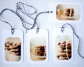 Photo Gift TAGS - COOKIES, Set of 4,Cookies, Choc Chips, White Tags, Biscuits, Chocolate, Cute Photo Tags, Tags with Photos