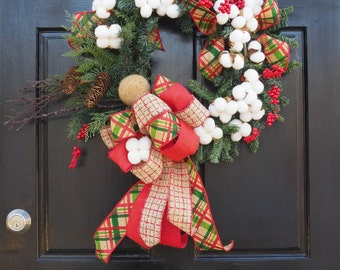 Evergreen cotton bud burlap bow holiday wreath