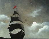 """Subside 8"""" x 10"""" print of an original acrylic painting by Owen Klaas grey ship ocean black and white"""