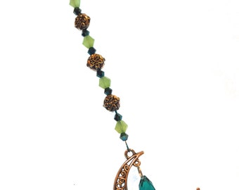 Moon & Crystal Ornament GREEN Hanging Beaded Crystal Feng Shui Sparkles Crescent Moon