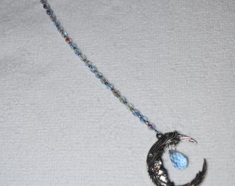 Moon & Crystal Ornament Aurora Borealis Hanging Beaded Crystal Feng Shui Sparkles Crescent Moon