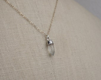 Tiny Moonstone Spike Pendant Silver Necklace, Electroplated with Sterling Silver, Silver Chain, 16 Inch, Simple Handmade Necklace 450123