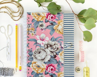 Fabric journal // DELILAH IN PINK hardbound spiral notebook jotter diary