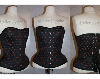 Black cherry pattern overbust boned cinched coutil corset historical pattern