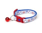 Fourth of July Cat Collar - Stars Shining Bright - Red White and Blue - American Flag - Kitten or Large Size